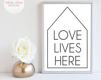 Love Lives Here Wall Art Home Decor Print A4