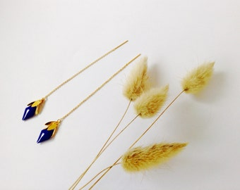 Gold and night blue threader earrings in 14K Gold Filled, threader earrings, gold chain earrings