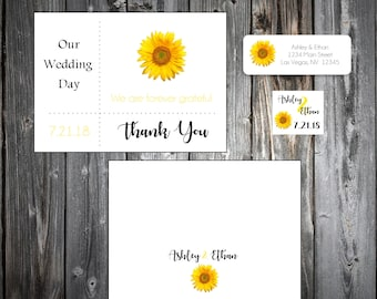 50 Sunflower Wedding Thank You Notes