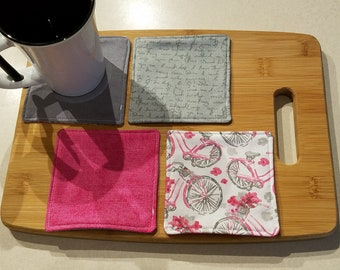 Quilted Fabric Coasters - Pink, Gray Journal Pages with Bicycles and Flowers Fabric  - Set of 4