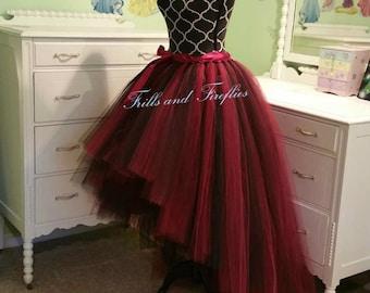 Red & Black Hi Lo Tulle Skirt/High Low Tutu Skirt/Festival Clothing/Cosplay Costume/Skirts for Women/Costume/Wedding Skirt/Bridal Skirt/Gift