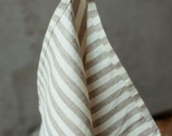 Striped linen tea towel, natural linen towels, tea towel, linen dish towels, linen kitchen towels, stonewashed linen towel