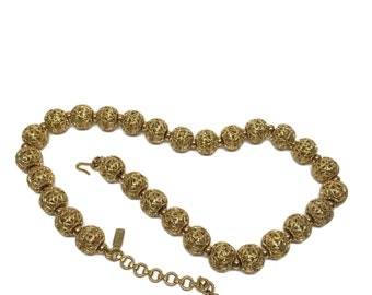 Etruscan Revival FILIGREE BALL Necklace Signed Monet