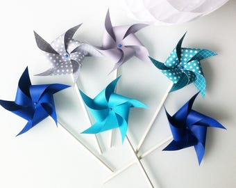 6 pinwheels blue turquoise gray - paper (120gr) mounted on vintage paper straws.