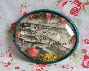 Vintage French Les Sables d'Olonne Souvenir Frame with Domed Glass Antique Convex Memorabilia Glitters Postcard 1960s Kitsch Beach Sixties