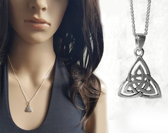 Small Celtic Necklace, Sterling Silver Necklace, Celtic Trinity Knot Pendant, Little Necklace Celtic Charm, Sterling Silver Jewelry