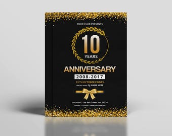Anniversary Flyer Template | Anniversary  Party Invitation | Photoshop & Elements Template, Instant Download