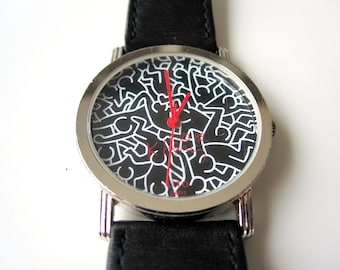 """Keith Haring watch """"Full"""" limited edition, Lito Paris - Made in France/Swiss nation. 1988"""