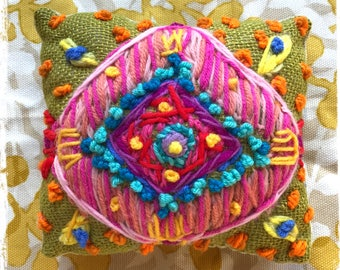 Funky Bohemian Ikat Freehand Embroidered Mini Pillow Ready to Ship YelliKelli