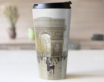 "Eugene Galien-Laloue ""The Arc de Triomphe"" Travel Coffee Mug for Women Travel Tumbler Double Walled - Spill Proof - 15 oz. TM-EGA-01"