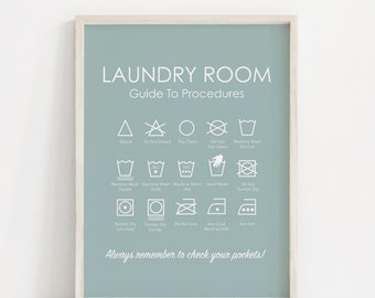 Laundry Room Art - Laundry Symbols Print - Light Blue - Garment Symbols Print - Washing Instructions Print