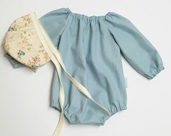 Long Sleeve Peasant Romper in blue, Baby girl linen playsuit, linen romper, newborn romper, coming home outfit, boho playsuit