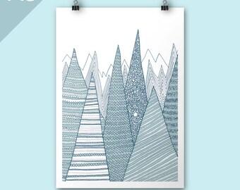 Mountains / A3 print / Art print / Illustration / Contemporary art / teal mountain print / christmas art print