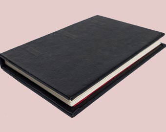 Hand bound black leather journal