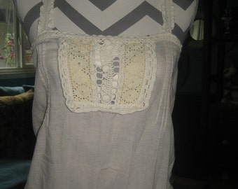 Crochet on muslin fabric very cute old top