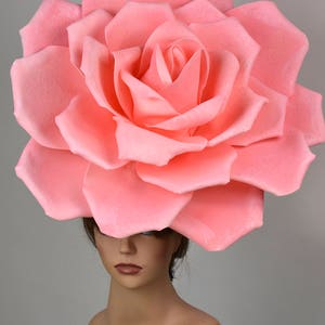 Over Size Pink Rose Headband Wedding Hat  Kentucky Derby Hat Church Hat Pink Coctail Hat Couture Fascinator  Bridal Hat