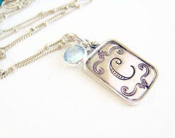 Hand Stamped Initial Necklace Sterling Silver Personalized Necklace Customized Initial Pendant  Mom Mommy Jewelry Gift Idea For Her Bridal