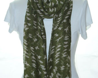 Olive green, bird on branch Scarf shawl, Beach Wrap, bird print scarf, cotton scarf, gifts for her