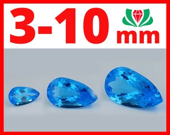 Swiss topaz Pear, 3-10mm, Natural Swiss Topaz, Swiss Blue Topaz, Swiss Topaz, Natural Swiss Blue Topaz, Blue Topaz Swiss, Blue Swiss Topaz