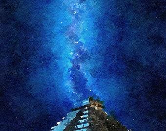 Maya Temple Original Unique Brush Painting Mixed Media Painting 80