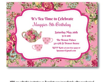 Tea Party Invitation, Tea Party Invite, Floral Girls Tea Party Invitation, High Tea Invite, Demo Template Before You Buy, Edit Now, Templett