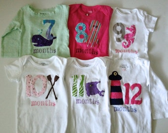 Girls Nautical Month-by-Month bodysuits (Months 1-12)