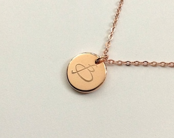 Initial Necklace, Rose Gold Initial Disc Necklace, Personalized Gift, Bridesmaid Gift, Letter Disc, Monogram Necklace, thick disc, 12mm disc