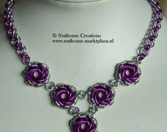 Chainmail Necklace Silver/Violet