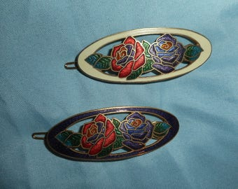 Vintage Rose Flower Barrettes Hair Clips Hippie Boho Country Western