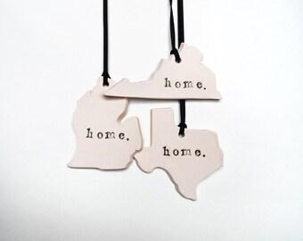 Custom State Ornament, Home, Ceramic, Pottery, Handmade - State shape - Christmas Tree Ornament - Lauren Sumner Pottery - Teacher Gift