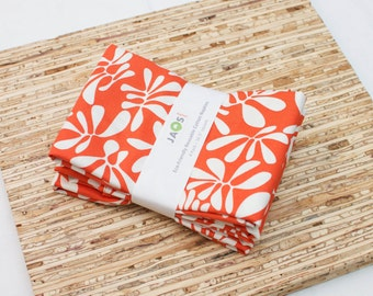 Large Cloth Napkins - Set of 4 - (N3898) - Dark Orange Leaves Modern Reusable Fabric Napkins