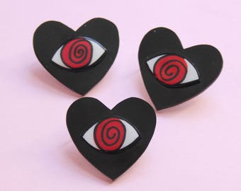 Hypnotized Heart Valentine Brooch / Pin