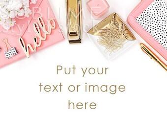 Styled Stock Photography Desktop / Background / Styled Stock Photography Desk / Pink and Gold / Social Media  / Mock-up / StockStyle-798