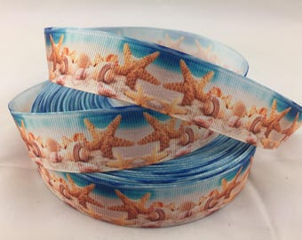 "Sea shell Grosgrain Ribbons,Beach ribbon,star fish ribbons, sand dollar ribbon,ocean ribbo, ocean ribbons, 1"" Grosgrain Ribbons"