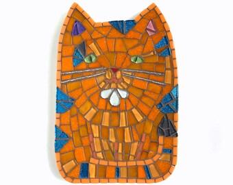 Mosaic Cat Art, Fat Cat Art, Orange Tabby Art