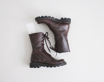 leather combat boots | combat boots 6.5 | dark brown boots