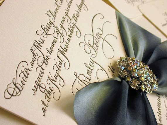 Calligraphy Wedding Invitations: DIY Calligraphy Wedding Invitation Wording To Print Yourself