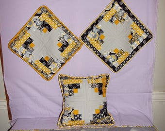 Three pillow shams and Table runner set