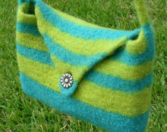 Charleston purse hand knit felted bag blue and lemon green