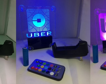 Uber,Lyft NEW! Car window LED sign with no cord- multicolor light, rechargeable and remote control operated. By AcryLEDdesigns