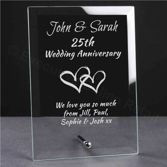 personnalis grav mariage anniversaire verre plaque cadeau. Black Bedroom Furniture Sets. Home Design Ideas