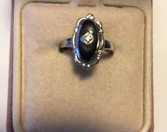 Vintage Black Onyx with Diamond, 10K White Gold Openwork Setting