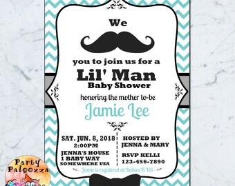 Printable Mustache Baby Shower Invitation