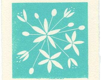 Star Jasmine - linoleum block print