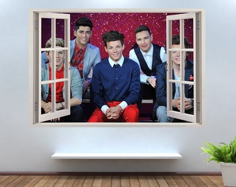 One Direction Music Artist 3D Window Effect Wall Sticker Art Decal Mural  1280