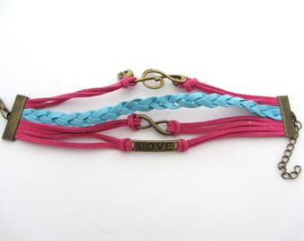 Bracelet 3 colors, 4 bands pink and blue