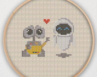 WALL-E and EVE Cross Stitch Pattern - Instant Download PDF