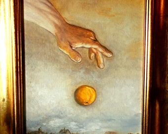 Contemporary fine art, original oil painting, surrealism, realism, the hand of the sunrise