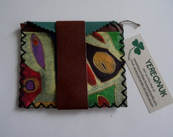 Authentic handmade leather purse  with abstract  design