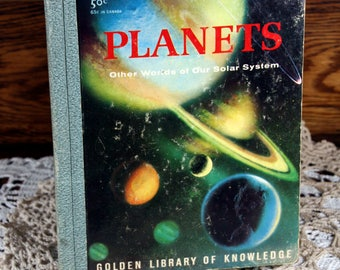 Golden Library of Knowledge- Planets-retro science book for kids-1959-space